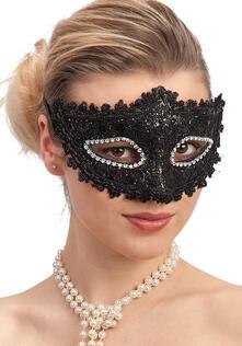 Maschera In Plastica Con Pizzo Nero E Strass