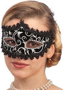 Carnival Toys 746. Maschera In Plastica Con Velluto Nero, Decorazioni E Strass