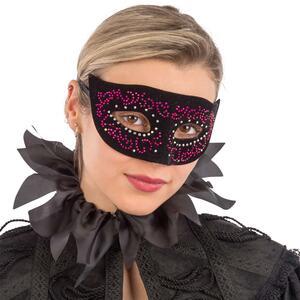 Maschera In Plastica Rigida con Velluto Nero E Dec.Viola In Busta con Cav.