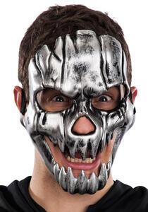 Maschera Scheletro Argento In Plastica Rigida