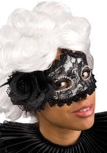 Maschera Argento In Plastica Con Pizzo Nero, Rosa E Piume