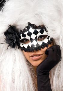 Maschera A Scacchi In Plastica Con Rosa E Piume