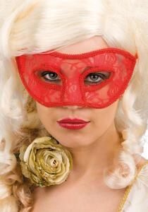 Carnival Toys 814. Maschera In Plastica Rigida Con Pizzo Rosso