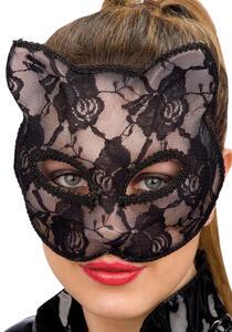 Maschera Gatto In Plastica Rigida Con Pizzo Nero