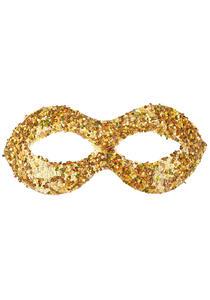 Maschera In Plastica Con Paillettes Oro