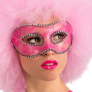 Maschera In Plastica Rigida con Pizzo Rosa E Strass In Busta con Cav.