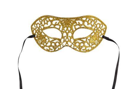 Carnival Toys 1380. Maschera In Plastica Intagliata Con Glitter Oro