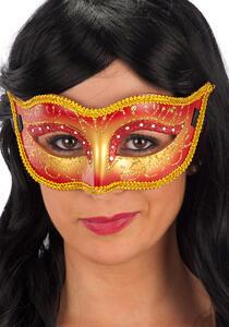 Carnival Toys 1685: Maschera In Plastica Rigida Rossa Decorata C/Glitter
