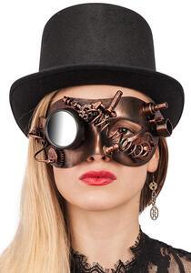 Carnival Toys 1691. Maschera Steampunk Rame In Plastica Rigida C/ Specchietto