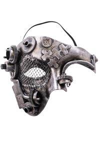 Maschera Steampunk Mezzo Viso Argento In Plastica Rigida