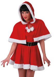 Carnival Toys 3040. Mantellina Natale Donna In Velluto C/ Bordo In Peluche L.Cm.40 Ca.