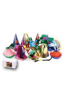 Carnival Toys 4422: 50 Cappelli Grandi Metallizzati In Carta H.Cm.10/25 Ca. Mod.Ass.