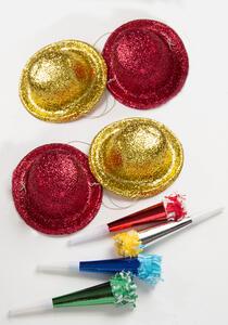 Carnival Toys 4642. Party Set 4 Cappelli Glitter + 4 Trombe Metallizzate L. Cm.18 Ca.