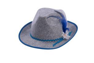 Cappello Bavarese In Feltro Di Lana Grigio Con Decorazioni Blu ... 8c746f5c5e63
