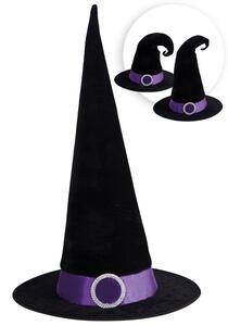 Carnival Toys 5439. Cappello Strega Nero Modellabile In Tessuto C/ Dec. Viola E Fibbia H.Cm.50 Ca.