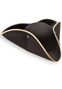 Cappello Tricorno Nero In Feltro con Bordino Oro