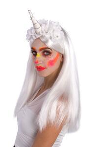 Carnival Toys 6096. Copricapo Unicorno Bianco C/Fiori Ed Elastico