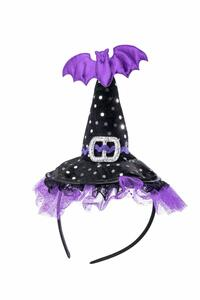 Carnival Toys 6187. Cappellino Strega Nero In Velluto A Pois C/Dec. Viola E Pipistrello H.Cm.11 Ca.