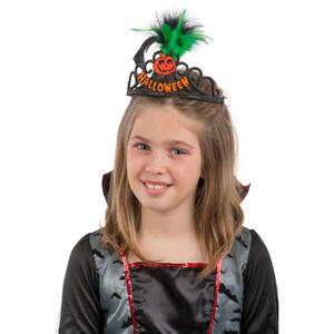 Carnival Toys 8043: Coroncina Halloween In Plastica Nera C/Dec.Arancioni Rifrangenti E Piume Su Cartoncino