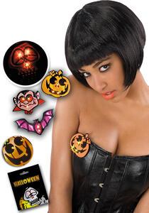 Carnival Toys 8354: Spilla Halloween Rifrangente C/Luci (Batt.Incl.) Mod.Ass.