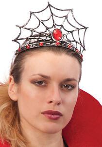 Cerchietto Corona Ragnatela con Pietra Rossa