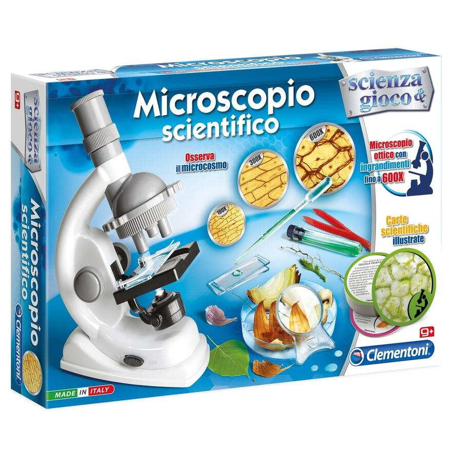 Gioco scientifico Clementoni- Scienza Primo microscopio 8 Anni e pi/ù Versione Francese Made in Italy Multicolore 52510