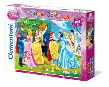 Giocattolo Puzzle Maxi 104 pezzi Principesse Disney con Principi Clementoni 0