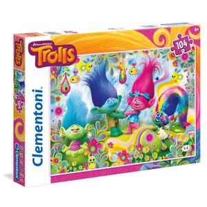 Giocattolo Puzzle 104 pezzi Trolls. Cupcakes and Rainbows Clementoni