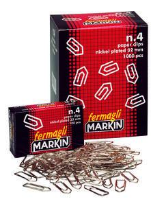 Confezione 100 fermagli zincati Markin nr 4. 32 mm