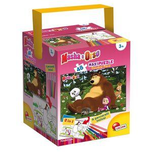 Giocattolo Puzzle + Color Fustino Maxi 48 Masha e Orso 1 Lisciani 0