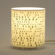 Lampada letteraria Meditathe Le parole di illuminano. Giacomo Leopardi