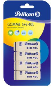 Cartoleria Gomme Pelikan a scalpello S+S40. Confezione da 4 Pelikan