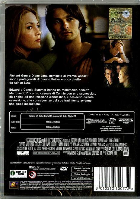 L' amore infedele. Unfaithful di Adrian Lyne - DVD - 2