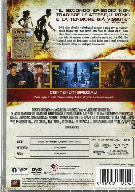 Maze Runner. La fuga di Wes Ball - DVD - 2