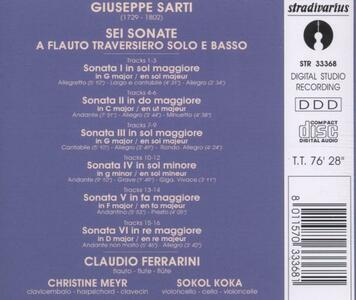 Sonata a flauto traversiero solo e basso n.1 - CD Audio di Giuseppe Sarti - 2