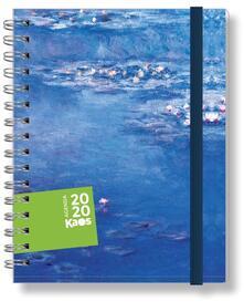 Agenda Kaos Classic 2020 settimanale con spirale Claude Monet - Ninfee. Con elastico - 9,5x12,8