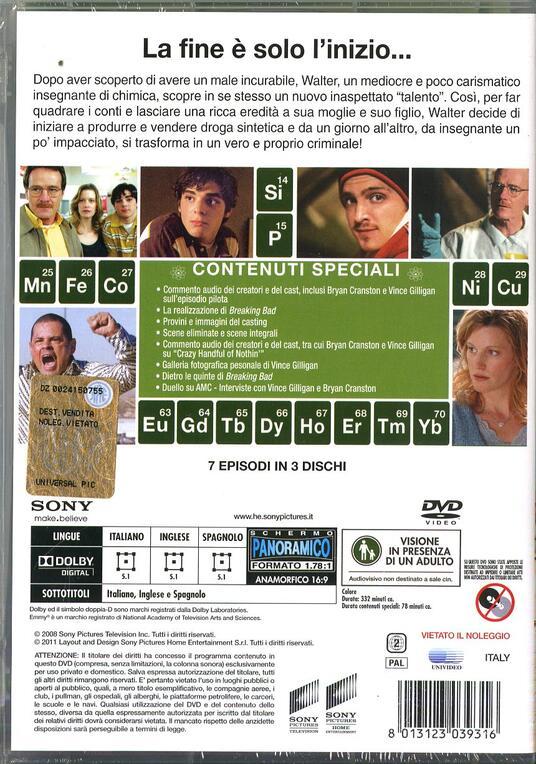 Breaking Bad. Stagione 1 (Serie TV ita) (3 DVD) di Vince Gilligan,Adam Bernstein,Jim McKay,Tricia Brock - DVD - 2