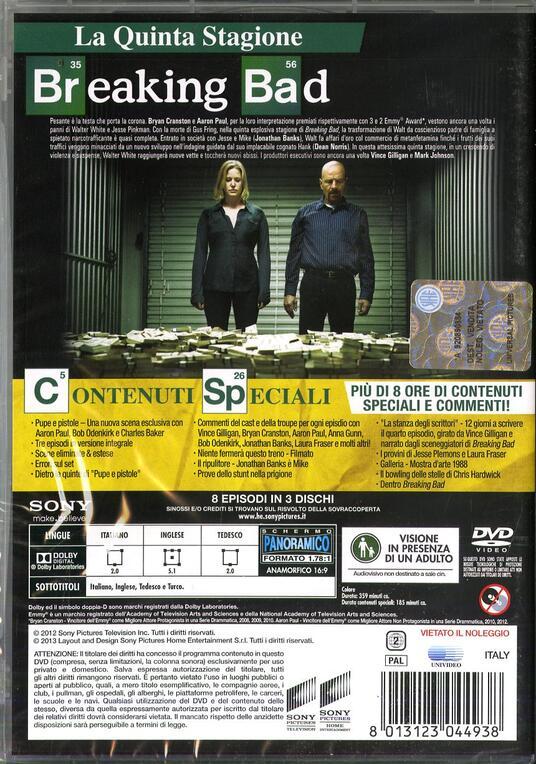Breaking Bad. Stagione 5. Parte 1 (Serie TV ita) (3 DVD) di Michael Slovis,Michelle MacLaren,Adam Bernstein - DVD - 2