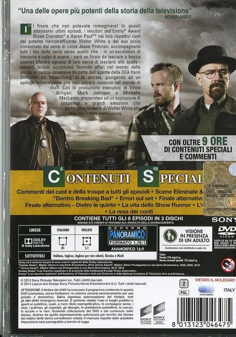 Breaking Bad. Stagione 5. Parte 2 (Serie TV ita) (3 DVD) di Michelle MacLaren,Vince Gilligan,Michael Slovis - DVD - 2