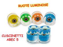 Ruote Luminose Skateboard 4 Pz Pu Cuscinetti Abec-5