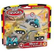 Giocattolo Mini Trucks. Blister 4 Mezzi A Retrocarica Teorema