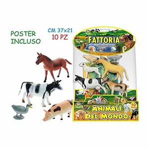 Animali Fattoria Con Poster 10 Pz