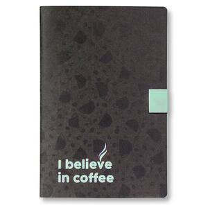 Quaderno cucito Believe medio a pagine bianche. Nero