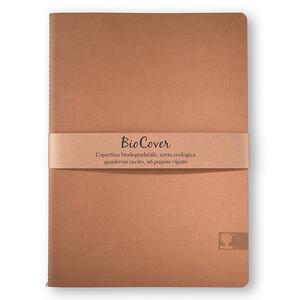 Quaderno cucito Biocover medio a righe. Ocra