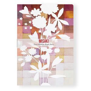 Quaderno brossurato Misaki piccolo a pagine bianche. Fiore bianco