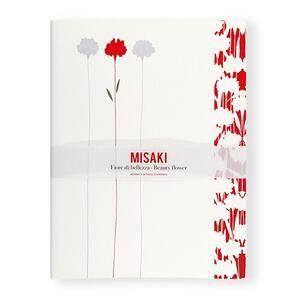 Quaderno punto singer Misaki neutro a pagine bianche. Fiori bianchi e fiore rosso