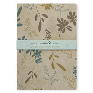 Quaderno brossurato Ricordi piccolo a pagine bianche. Fiori azzurri