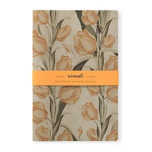 Quaderno punto singer Ricordi medio a pagine bianche. Fiori arancioni