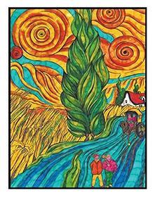 Colorvelvet La8 Disegno 47X35 Cm Van Gogh Strada con Cipresso e Stella