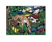 Colorvelvet L041 Disegno 47X35 Cm Cavalli Naif
